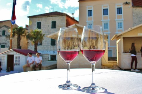 Wine glasses at wine festival on Kacic Square, Makarska, Croatia