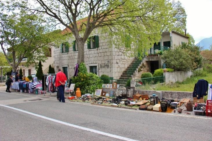 Items for sale at the Zadvarje village Tuesday market, Makarska, Croatia