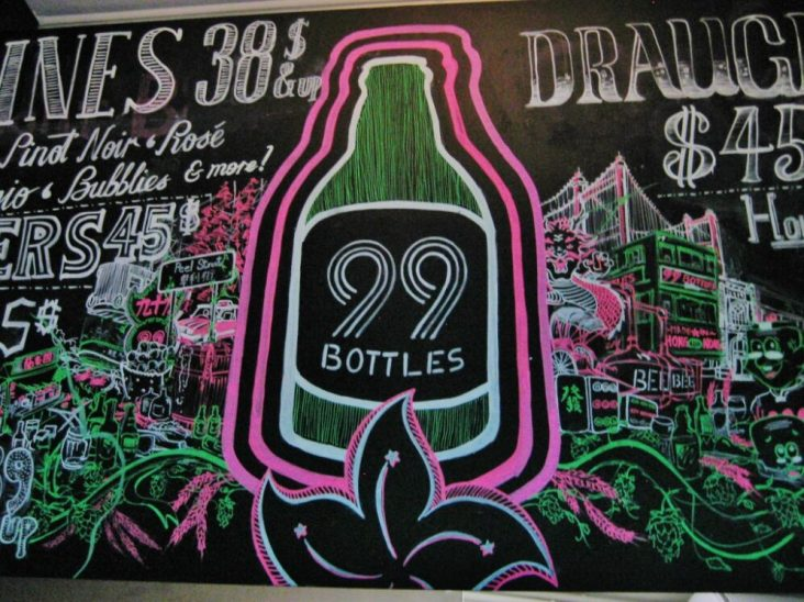 99 Bottles bar sign in Soho, Hong Kong