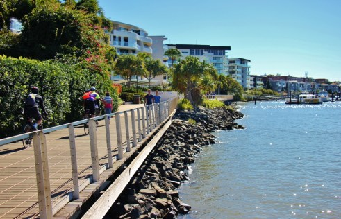 Cyclists and Walkers on Riverside path in Brisbane, Australia