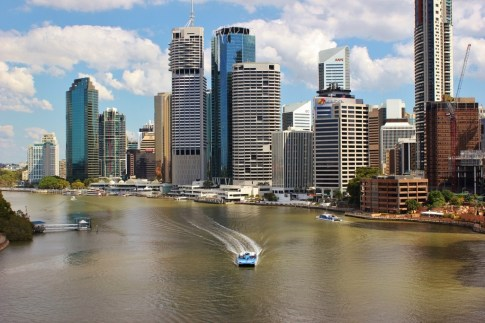 River and CBD View from Story Bridge in Brisbane, Australia