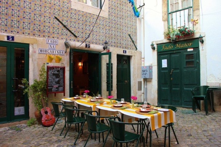 Outdoor seat at Fado Restaurant in Lisbon, Portugal