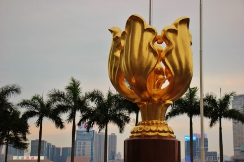 Golden Bauhinia statue in Golden Bauhinia Square in Hong Kong