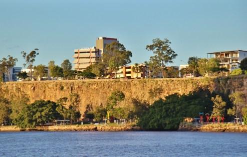 Sun shining on Kangaroo Point Cliffs Park in Brisbane, Australia