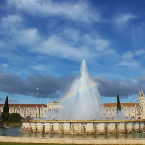 Fountain on Praca do Imperio at Jeronimos Monastery in Belem, Lisbon, Portugal