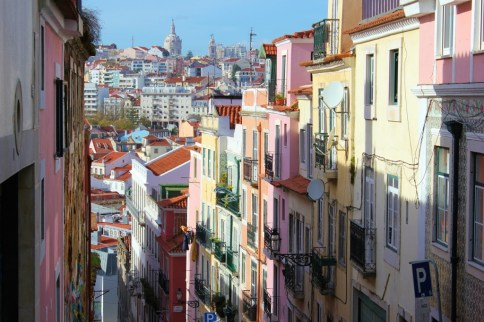 Hilly and colorful street in Lisbon, Portugal