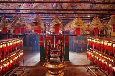 Incense coils at Man Mo Temple in Hong Kong