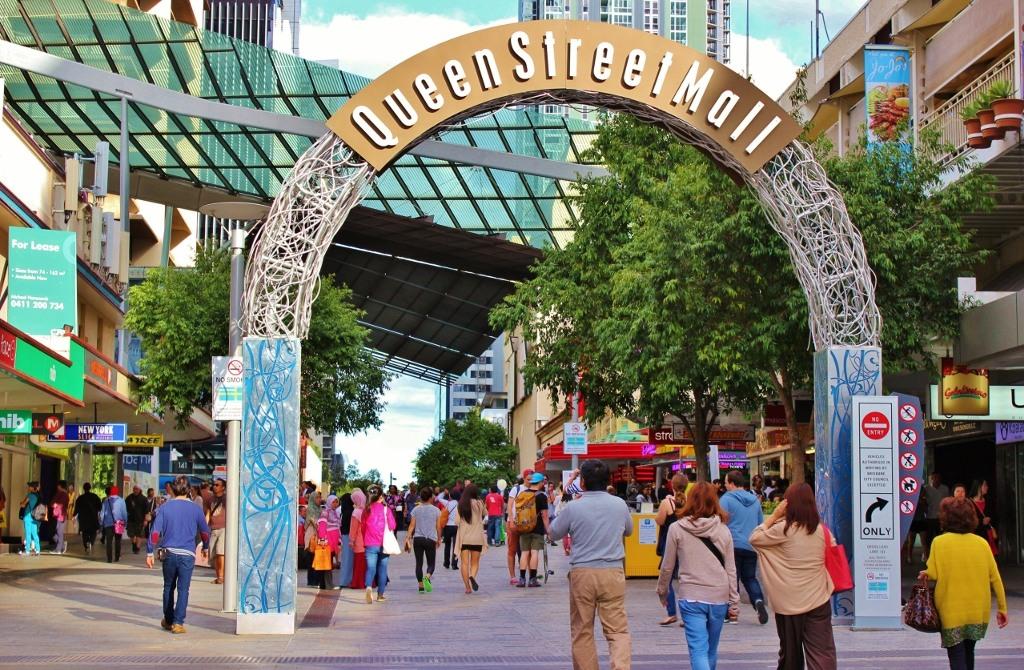 Queen Street Mall pedestrian walkway in Brisbane, Australia