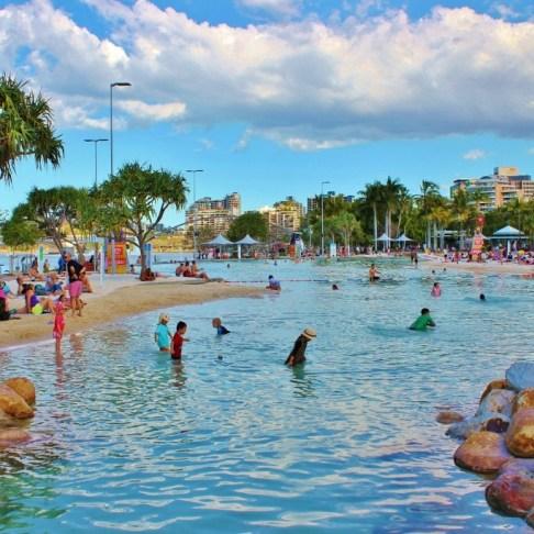 The Streets Beach man-made lagoon pool at South Bank in Brisbane, Australia