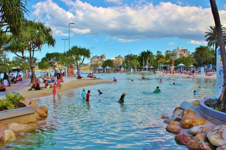 The Streets Beach man-made lagoon pool at South Bank in Brisbane, Australia