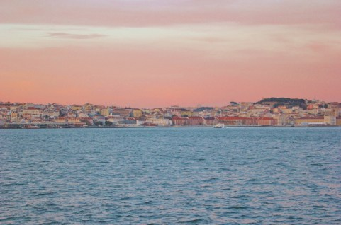 Pink sunset over Lisbon, Portugal