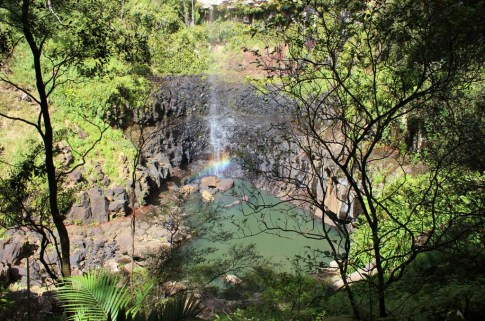 Rainbow in waterfall at Springbrook National Park in Australia