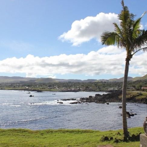 Easter Island coastline and palm tree, JetSettingFools.com