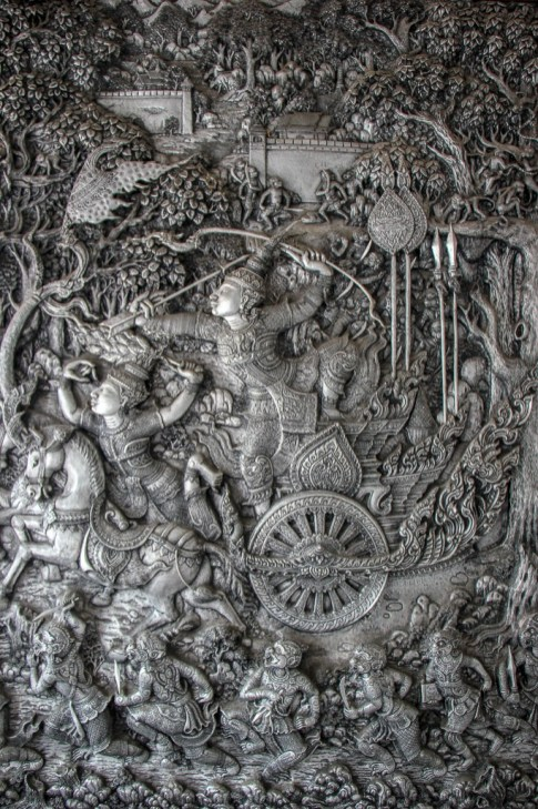 Intricate silver artwork at Wat Muen San in Chiang Mai, Thailand