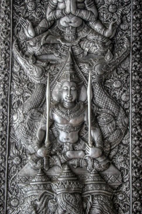 Silver artwork at Wat Muen San in Chiang Mai, Thailand