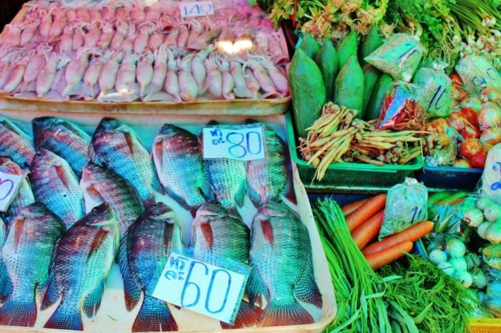 Fresh fish and produce at Khlong Toei Market in Bangkok, Thailand