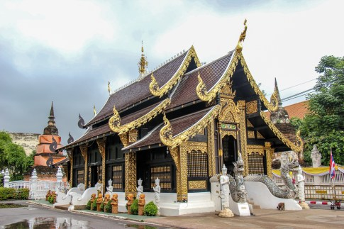 Teak and Golden gilded Wat Inthakhin Sadue Muang Temple in Chiang Mai, Thailand