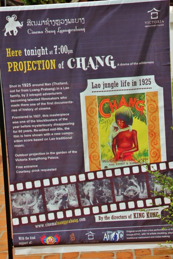 Advertisement for CHANG movie viewing in Luang Prabang, Laos
