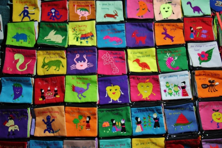 Handsewn wallets for sale at Night Market in Luang Prabang, Laos