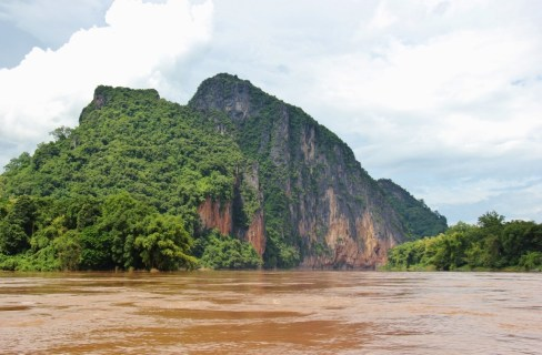 Rocky, karst mountain on Mekong River, Laos