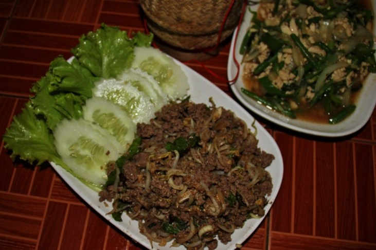 Traditional Laap minced meat dish in Luang Prabang, Laos