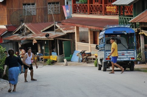 People on Main Street in Pakbeng, Laos