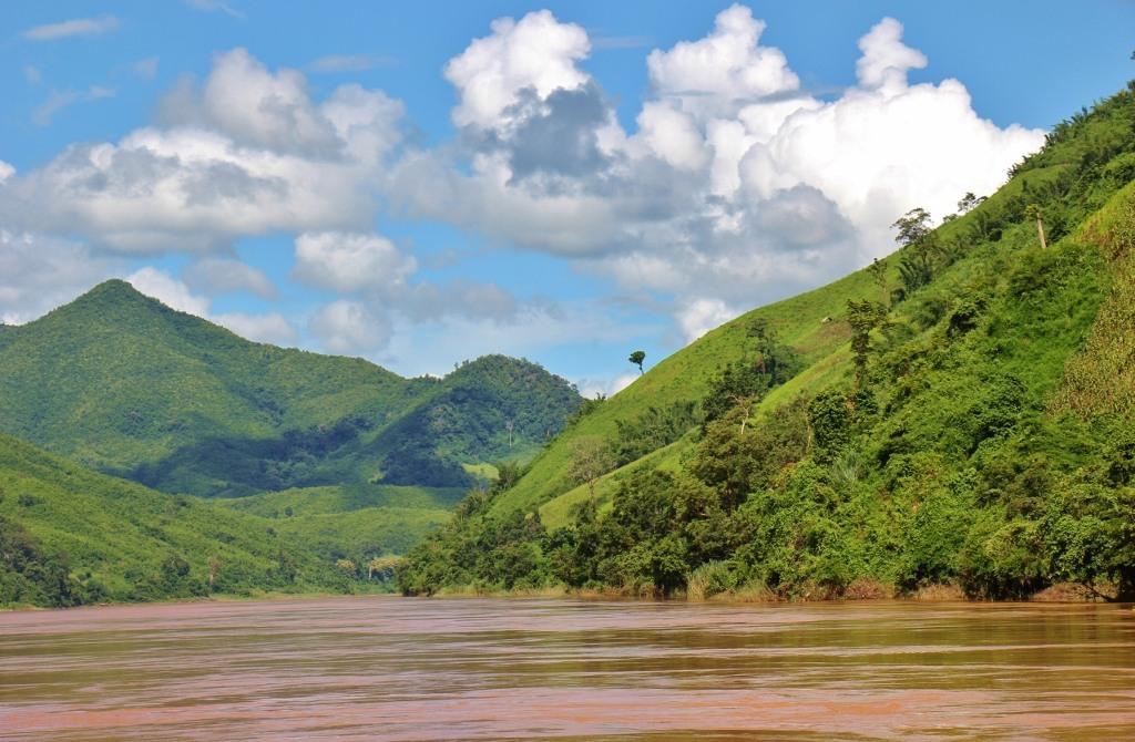 Mountainous scenery on Mekong River, Laos