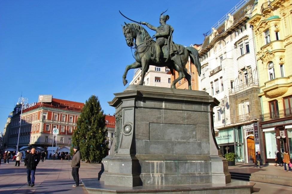 Statue of Ban Jelacic on main square in Zagreb, Croatia