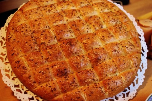 Traditional Belokranjska Pogaca bread, Domacija Sraif, Bela Krajina, Slovenia
