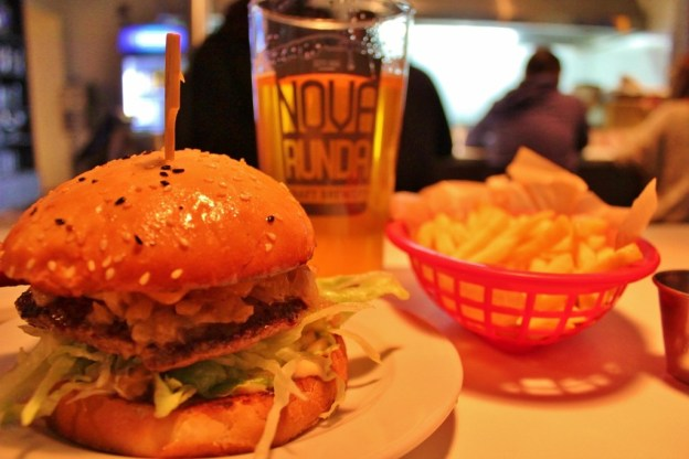 Burger, fries and beer at Rocket Burger in Zagreb, Croatia