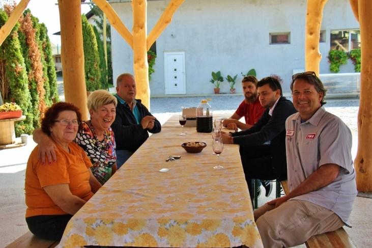 Family and friends at Ekoloska Kmetija Totter Farm in Bela Krajina, Slovenia