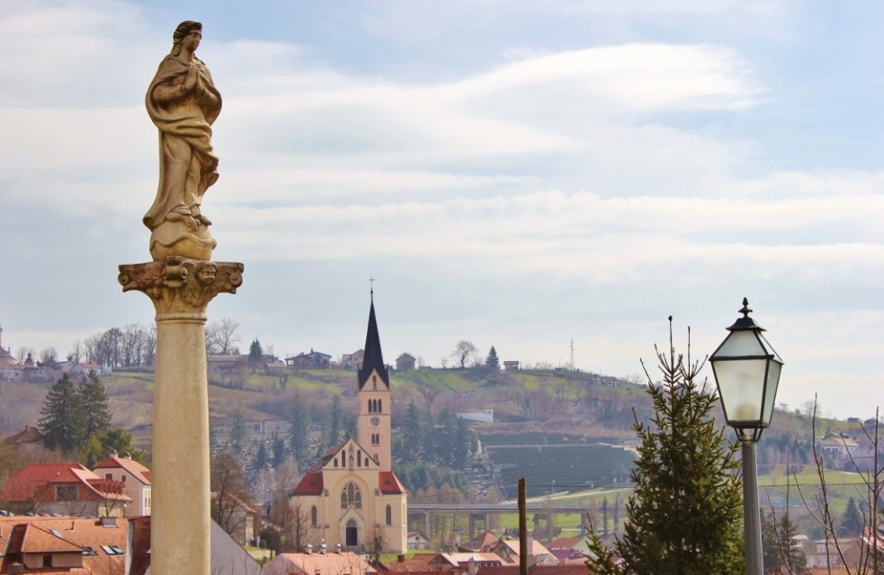 Statues and steeples in Krapina, Croatia