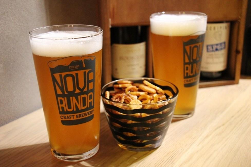 Pints of Nova Runda Beer in Zagreb, Croatia