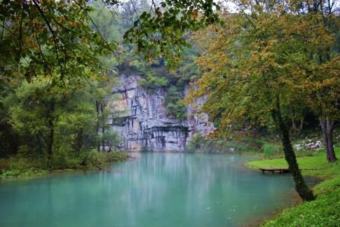 Blue water at the Source of Krupa River, Bela Krajina, Slovenia