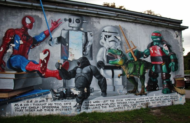 Toy figurine street art wall mural at Student Center in Zagreb, Croatia