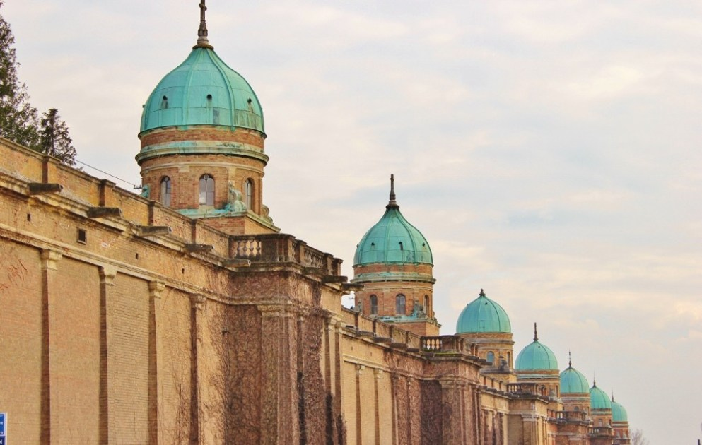 Domes at Mirogoj Cemetery in Zagreb, Croatia