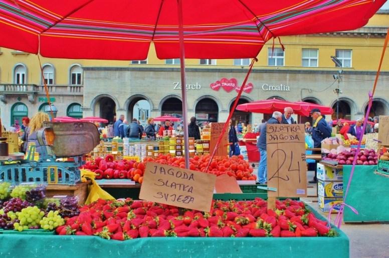 Produce for sale at Dolac Market in Zagreb, Croatia