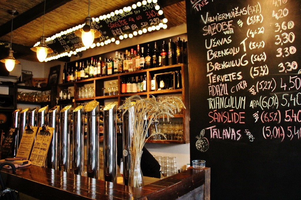 Craft beer on tap at Alus Muiza in Riga, Latvia