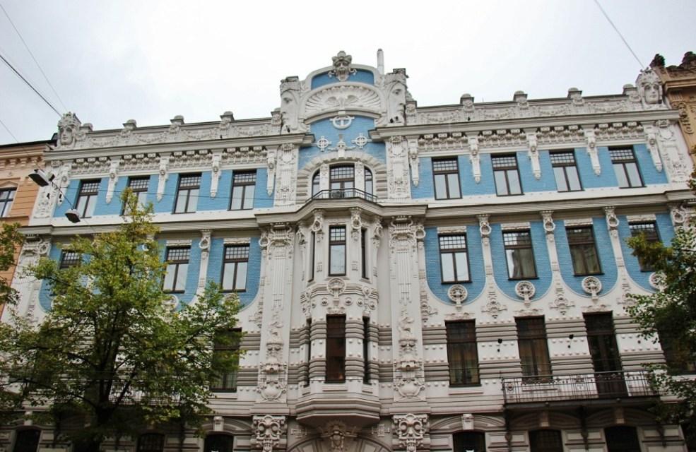 Decorative blue Art Nouveau building in Riga, Latvia