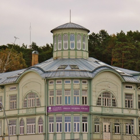 Wooden bathhouse of E Racene in Jurmala, Latvia