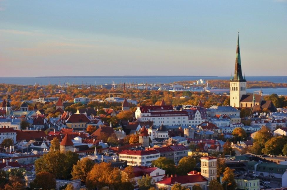 City View at sunset from Lounge24 at Radisson Blu in Tallinn, Estonia