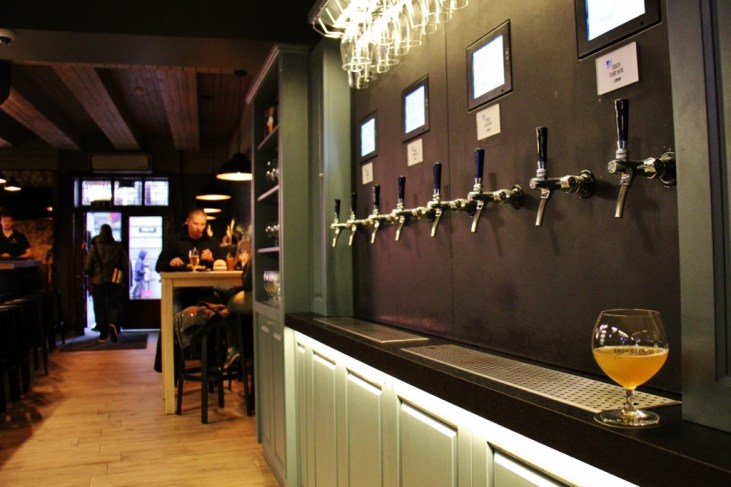 Self-pour taps at Easy Beer Bar in Riga, Latvia