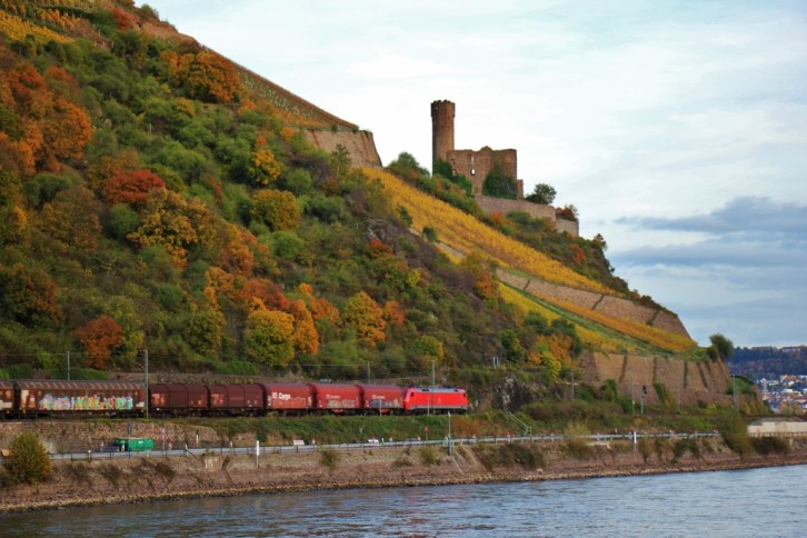 Ehrenfels Castle on Romantic Rhine River in Germany
