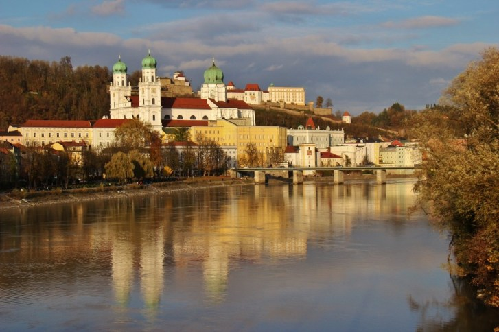 St. Stephen's Cathedral across Inn River in Passau, Germany