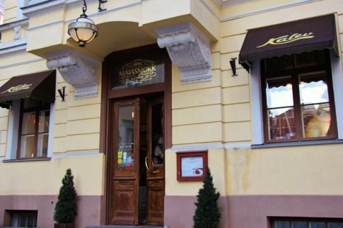 Entrance to Maiasmokk Cafe and Kalev Marzipan Museum room in Tallinn, Estonia