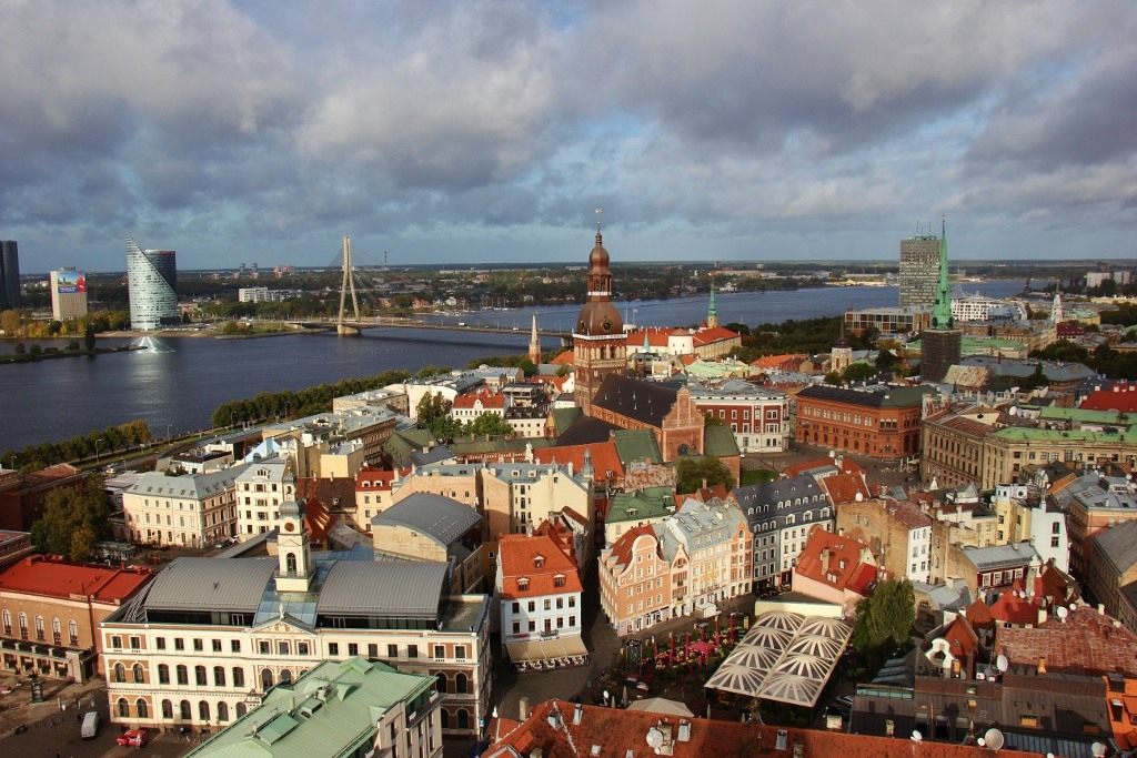 View of Old Town Riga, Latvia from St. Peter's Church