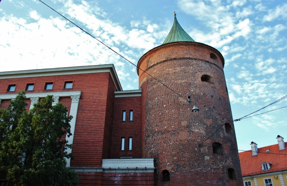 Brick Powder Tower houses Latvian War Museum in Riga, Latvia