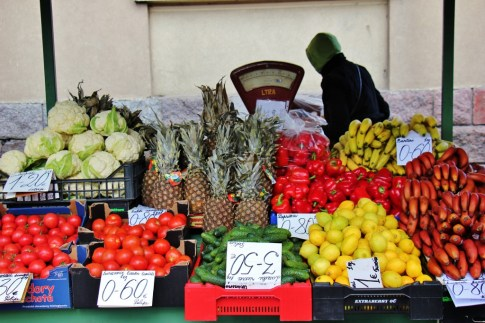 Colorful produce stand of fresh fruit at the Central Market in Riga, Latvia