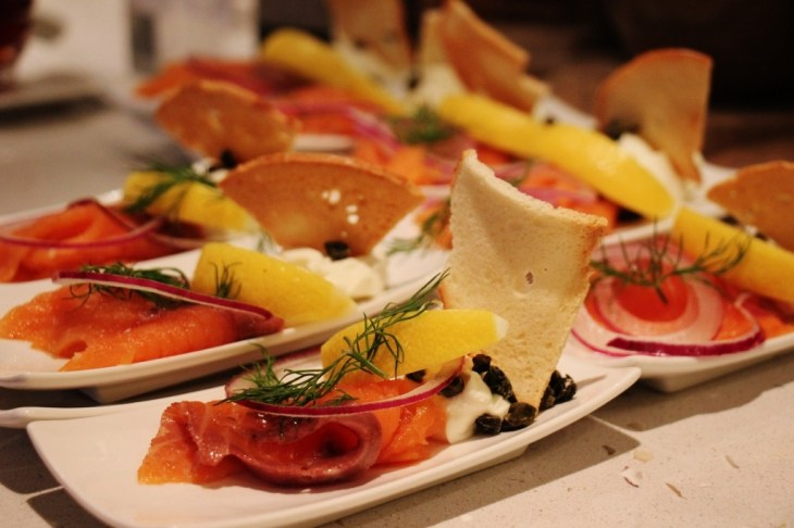 Plates of smoked salmon for breakfast on Viking Amsterdam to Budapest cruise