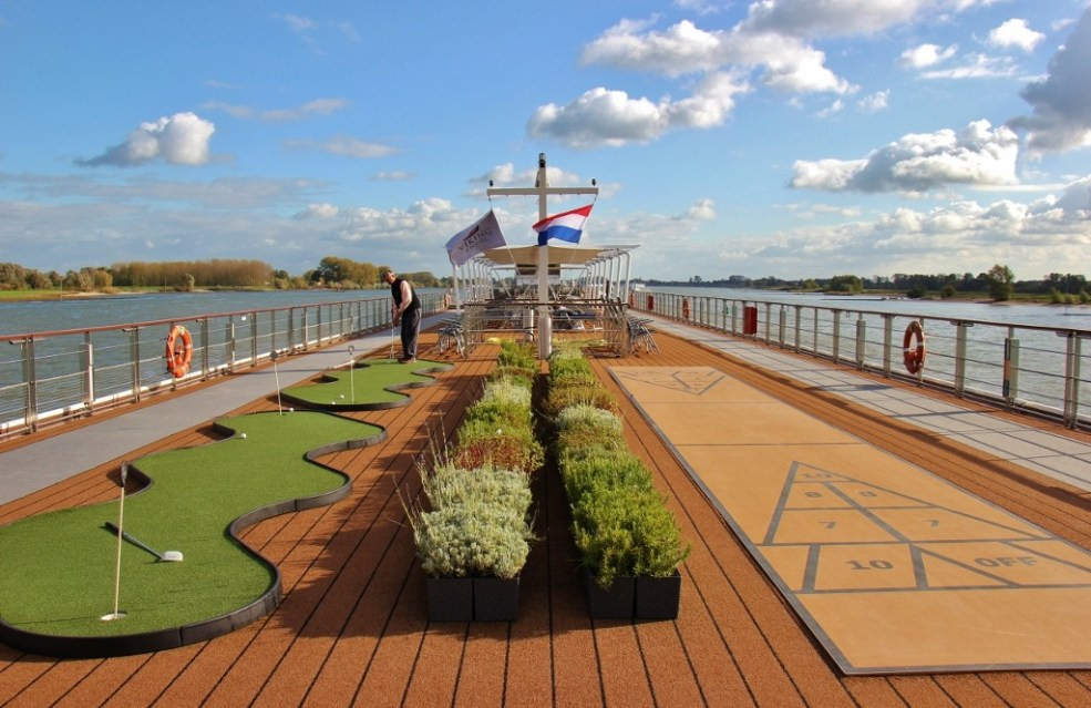 Golf, Herb Garden and Shuffle Board on Sundeck of Viking Magni Longship